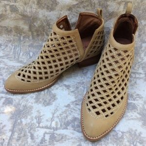 JEFFREY CAMPBELL Cutout Taggart Booties Beige 9